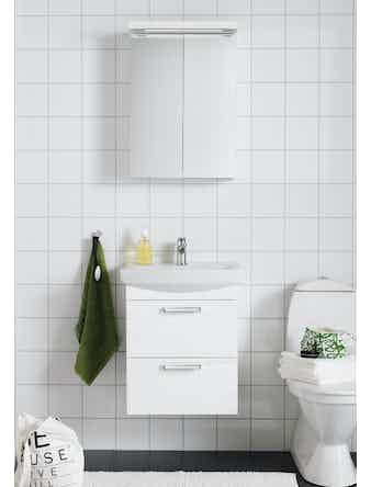 Badrumsmöbel Hafa Life 600 Komplett Med Spegelskåp Vit
