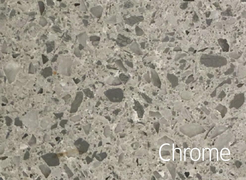 Bänkskiva Hafa Chrome Suede 12x462x810mm Centrerat Hål