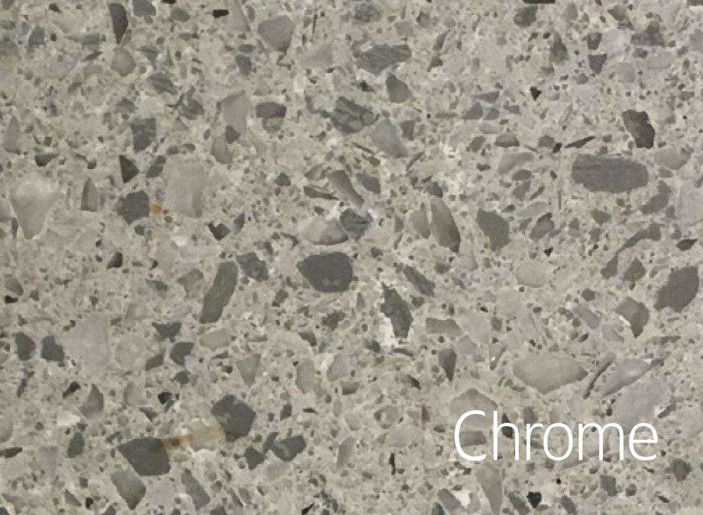 Bänkskiva Hafa Chrome Suede 12x462x1210mm Två Hål