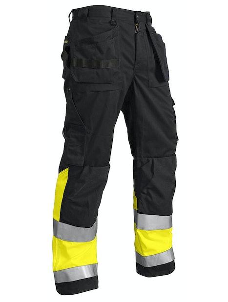 RIIPPUTASKUHOUSUT BLÅKLÄDER HIGHVIS 152918609933 MUSTA/KELTAINEN KOKO D100