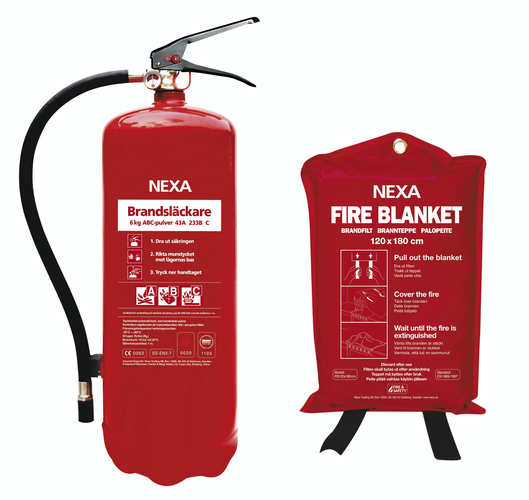 Brandsläckare Nexa Pulver 6kg Med Brandfilt 120x180cm