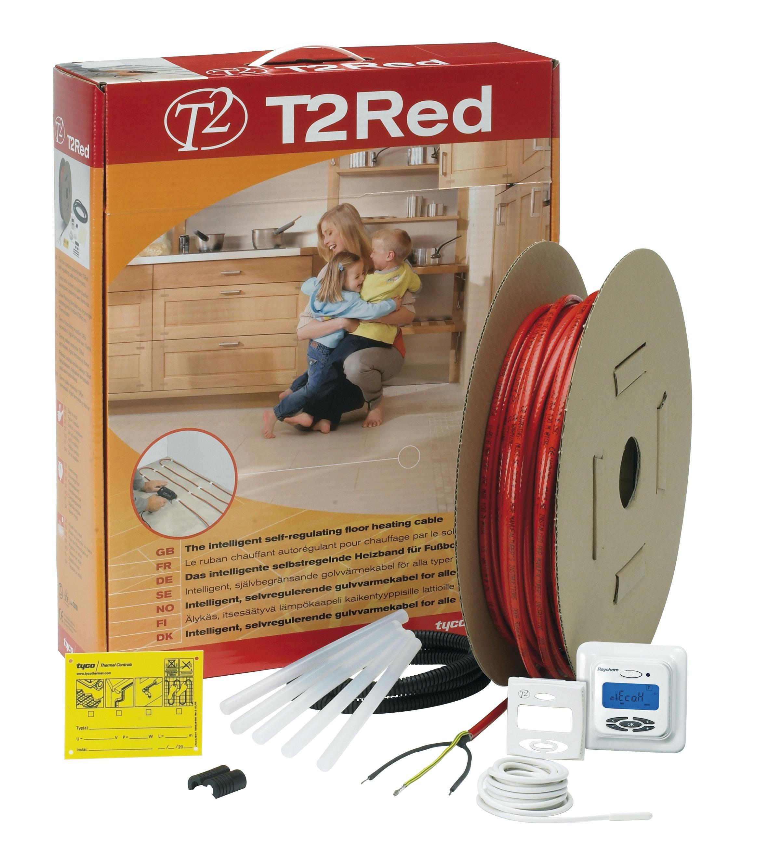 Golvvärme T2 Röd För Temperaturkänsliga Golv 72M
