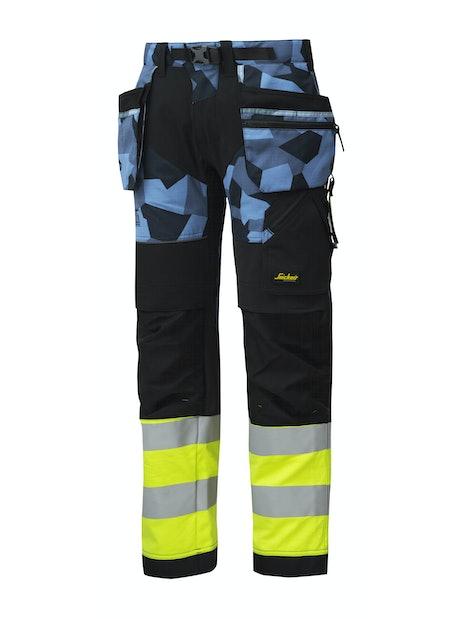 HUOMIOTYÖHOUSUT SNICKERS FLEXIWORK RIIPPUTASKU 6931 SININEN/KELTAINEN KOKO 56