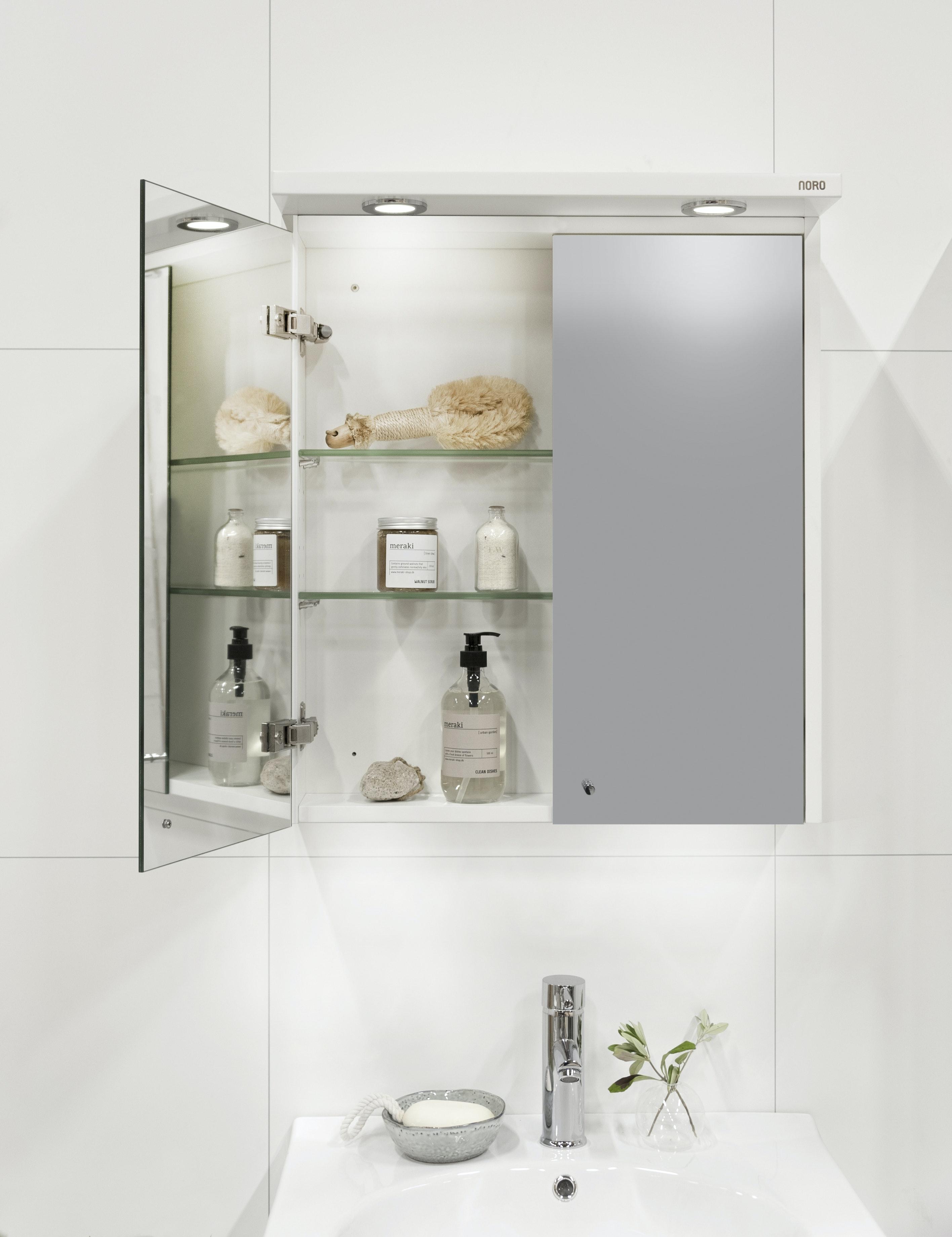Spegelskåp Noro Polo 600 Vit Led