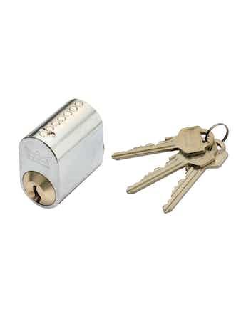 Cylinder Millers 7-Stift Mattmässing Med 3 Nycklar