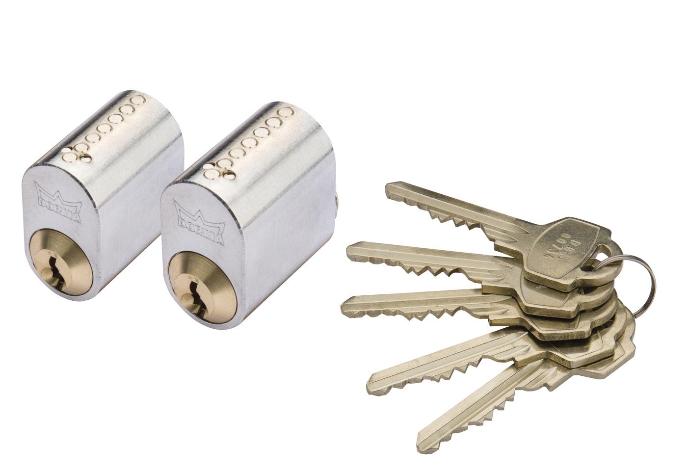 Cylinder Millers 7-Stift-Ll Krom 2-Pack Med 5 Nycklar