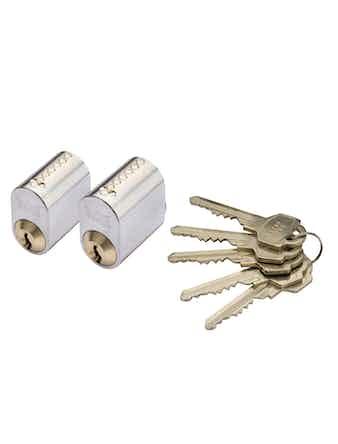 Cylinder Millers 7-Stift-Ll Mattkrom 2-Pack Med 5 Nycklar