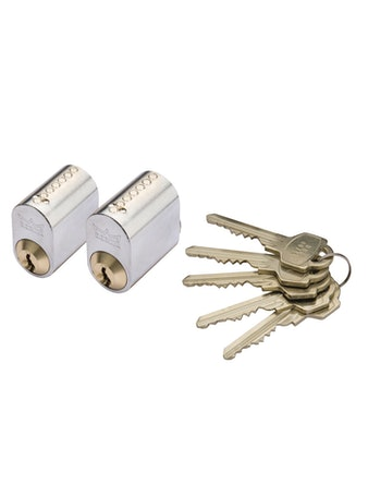 Cylinder Millers7-Stift-Ll Mattmässing 2-Pack Med 5 Nycklar