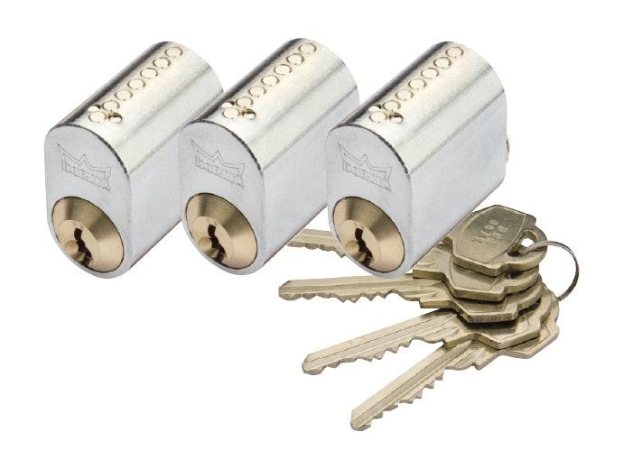 Cylinder Millers 7-Stift-Ll Krom 3-Pack Med 5 Nycklar