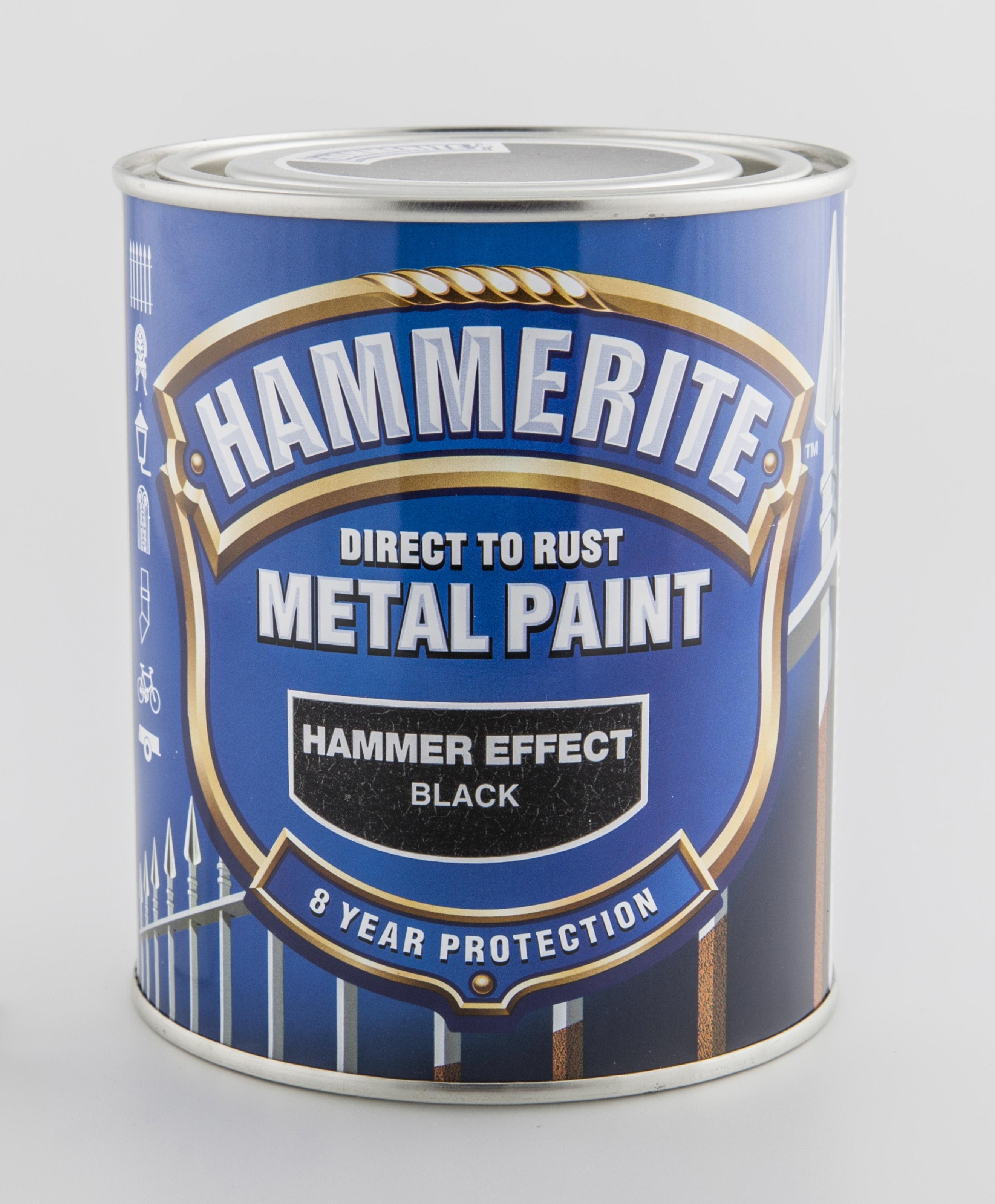 Hammarlack Hammerite Hammered Finish högblank Svart 750ml