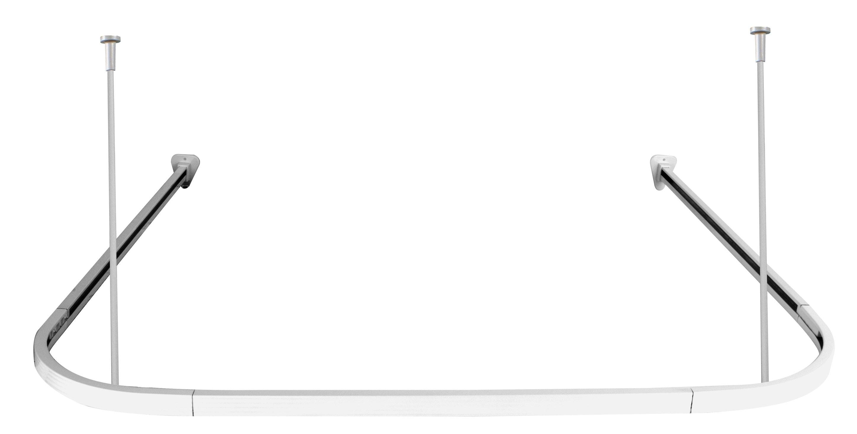 Duschdraperistång U-Stång Duschy 676-10 för duschdraperiskena 900x900mm vit
