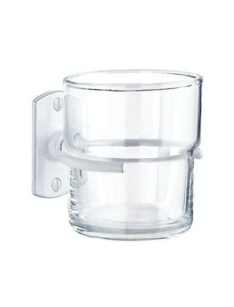 Tandborstglas Beslagsboden B443X hållare vit