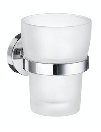 Tandborstglas Smedbo Home HK343 frostat glas hållare i krom väggmontering