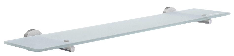 Hylla dusch Smedbo Home HS347 600mm frostad glashylla förkromad mässing förkromad mässing
