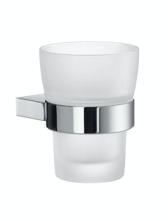 Tandborstglas Smedbo Air AK343 frostat glas hållare i krom