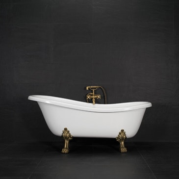 Badkar Westerbergs Victoria 157 svartvit med tassar i krom