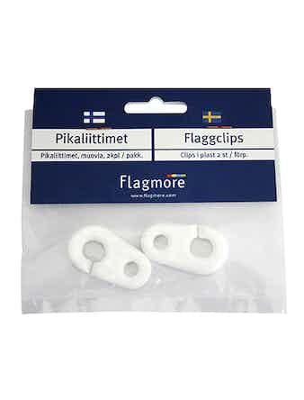 Clips Flagmore Vit Plast 2-Pack