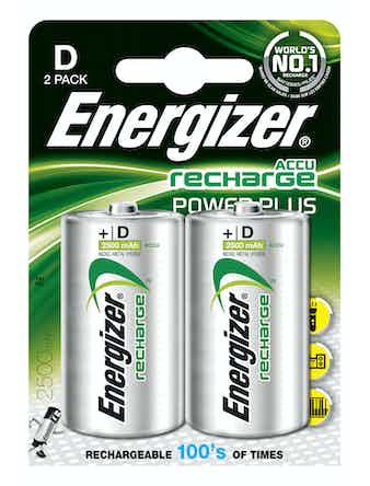 Batteri Energizer Rech Powerplus D 2-Pack