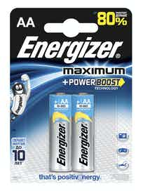 Батарейки алкалиновые Energizer Maximum Power Boost AA, 2 шт.