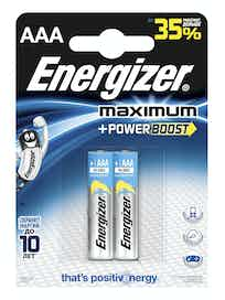 Батарейки алкалиновые Energizer Maximum Power Boost AAA, 2 шт.