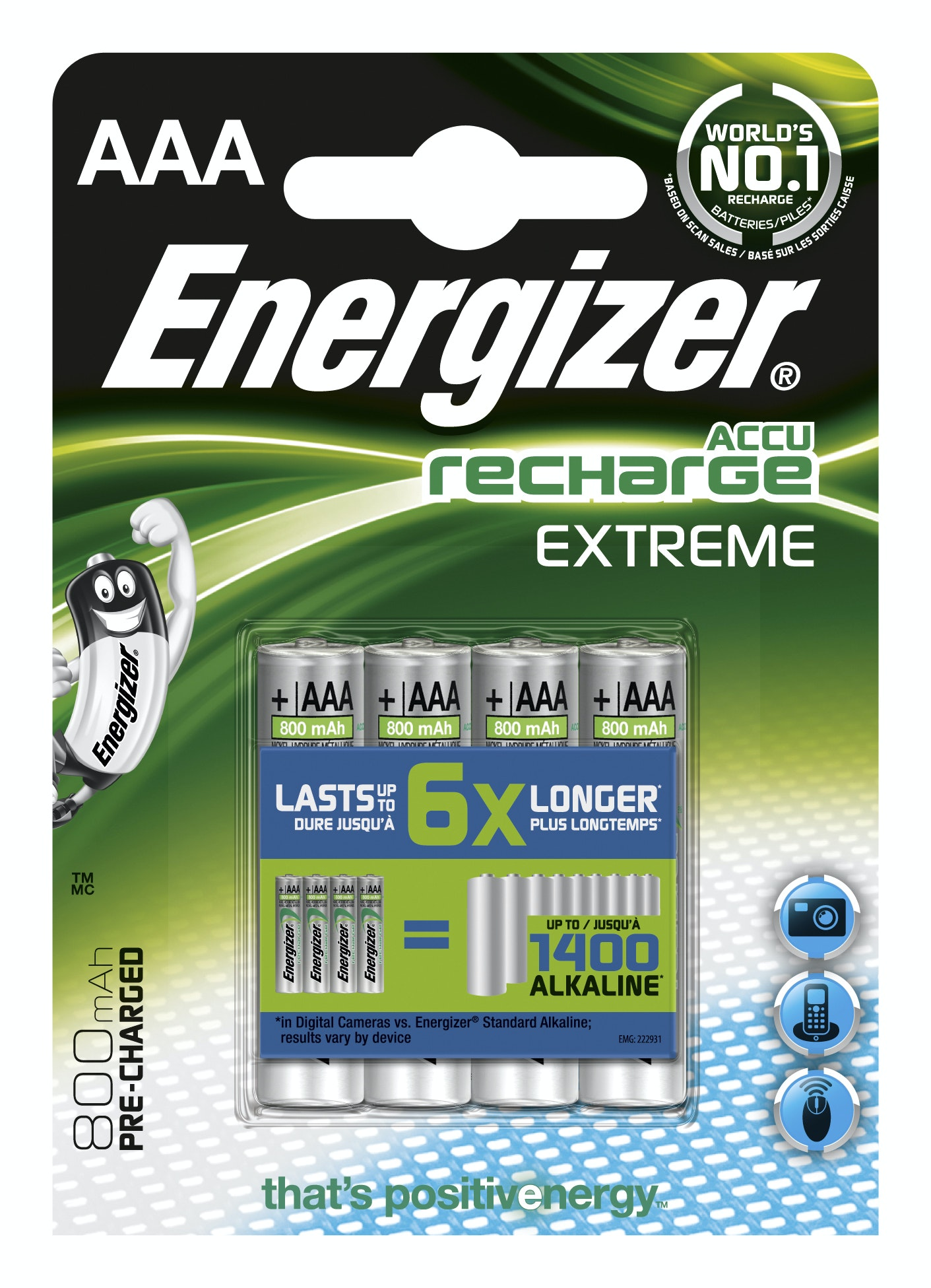 Batteri Energizer Extreme Rechargeable AAA 800Mah Fsb4