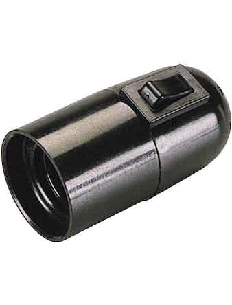 Патрон с выключателем черный Е27 71106