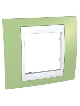 Рамка Unica Хамелеон одинарная, зеленая/белая
