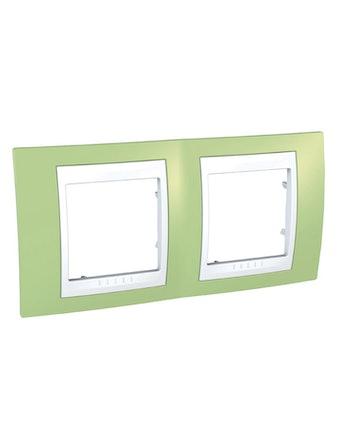 Рамка Unica Хамелеон двойная, горизонтальная, зеленая/белая