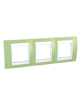 Рамка Unica Хамелеон тройная, горизонтальная, зеленая/белая