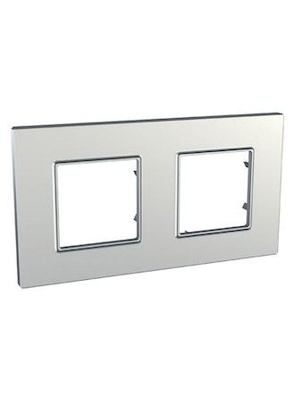 Рамка Unica Quadro двойная, серебро