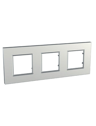 Рамка Unica Quadro тройная, серебро