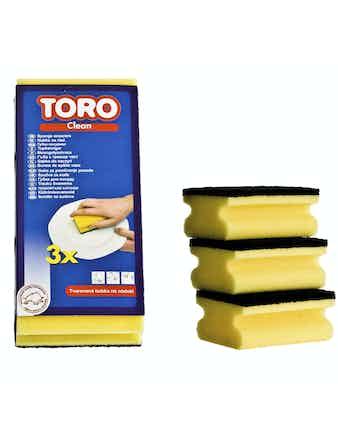 Губка TORO д/мытья посуды 3шт, арт. 600003