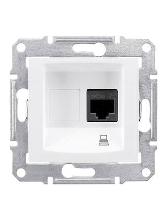 Розетка компьютерная Sedna RJ45, категория 5е UTP, белая