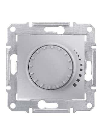 Светорегулятор Sedna поворотно-нажимной, 60-500 Вт, цвет алюминий