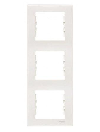 Рамка Sedna тройная, вертикальная, бежевая