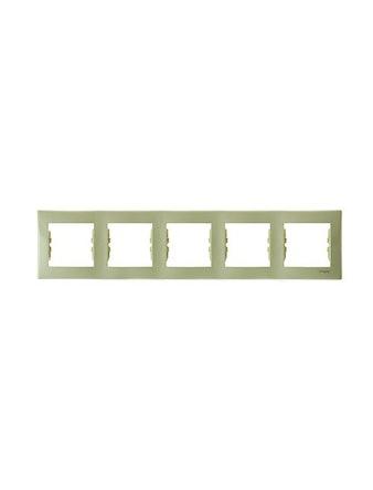 Рамка Sedna пятерная, горизонтальная, бежевая
