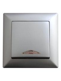 Выключатель 1-клавишный Visage, с подсветкой, серебристый