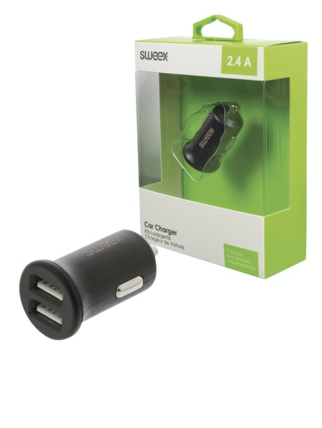 AUTOLATURI SWEEX 2 X USB-A 2.4 A MUSTA