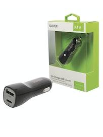 AUTOLATURI SWEEX 2 X USB-A/C 3.4 A MUSTA