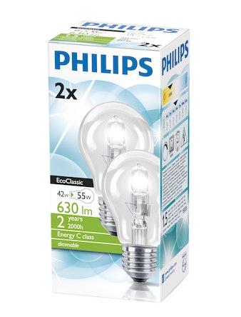 Halogenlampa Philips ECO 42W E27 Varmvit 2-Pack