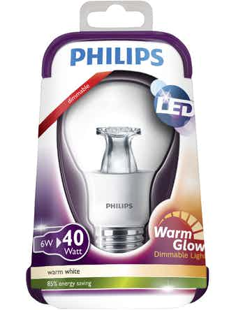 Led-Lampa Philips Warmglow E27 6W(40W) Klar Standard
