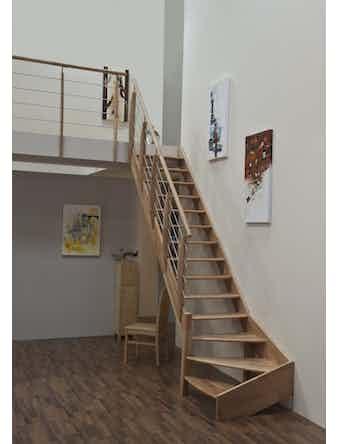 Trappräcke Byggera Till Övervåningen 1m Bok/Rostfritt Stål