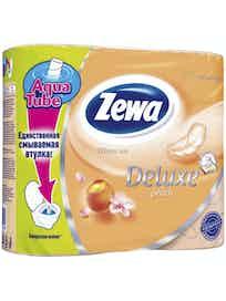 Бумага туалетная Zewa Delux Персик, 3-слойная, 4 рулона