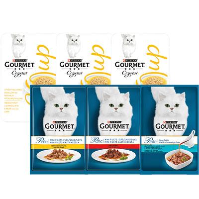 PURINA Gourmet Perle 85 g ja Soup 40 g kissan annospussit