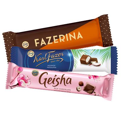 FAZER Karl Fazer, Geisha ja Fazerina suklaapatukat 37-39 g