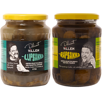 DELICIEST Villen Lupsakka maustekurkku 675/405 g, Rapsakka maustekurkku 675/405 g ja paistettu hapankaali 530 g