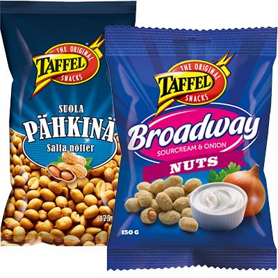 TAFFEL Suolapähkinät 175 g ja Taffel maustetut pähkinät 150 g