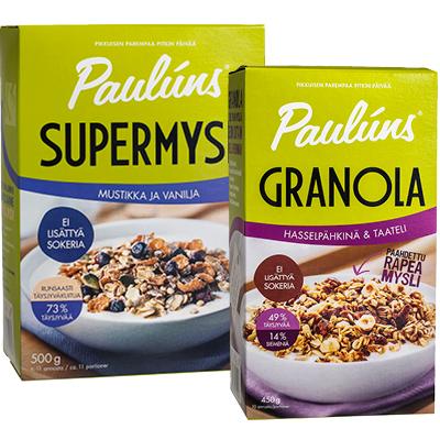 PAULUNS Granolat tai myslit 350-500 g