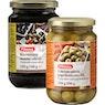 PIRKKA Kivettömät mustat oliivit 320/160 g ja vihreät oliivit paprikatäytteellä 350/200 g