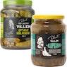 DELICIEST Villen Lupsakka ja Rapsakka mauste- ja suolakurkut 650-675/325-405 g ja paistettu hapankaali 530 g